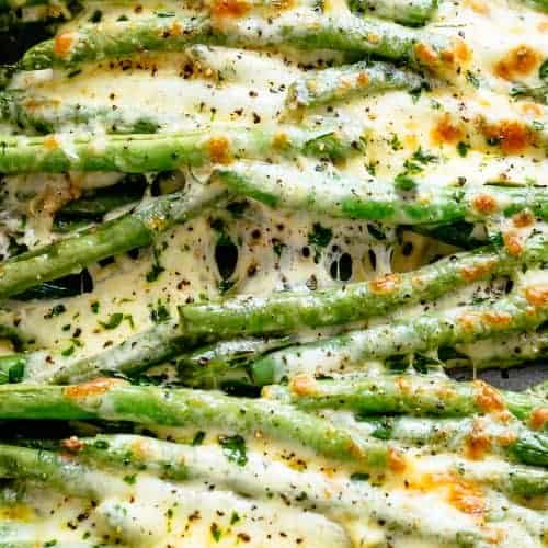 CHEESY GARLIC GREEN BEANS keto side dishes
