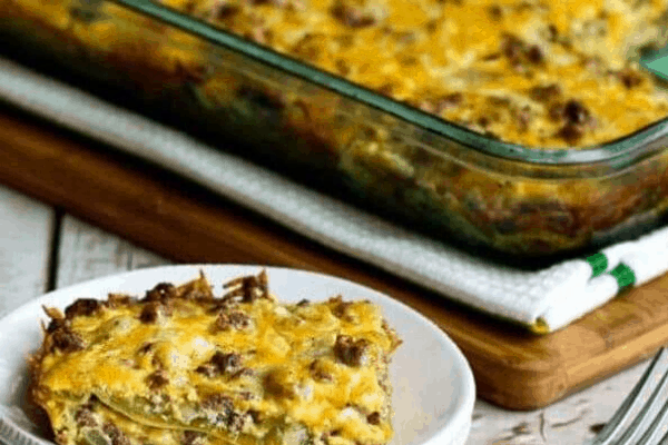BEEFY AND CHEESY LOW CARB GREEN CHILE BAKE