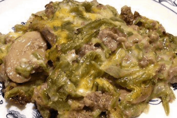 GREEN BEAN KETO GROUND BEEF CASSEROLE