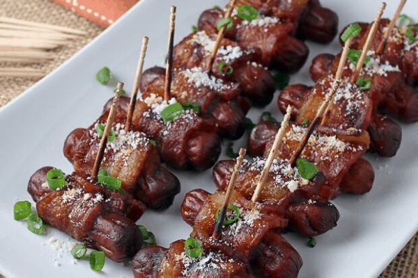 BBQ BACON WRAPPED SMOKIES KETO APPETIZERS