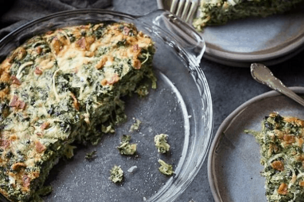 CRUSTLESS SPINACH QUICHE WITH BACON