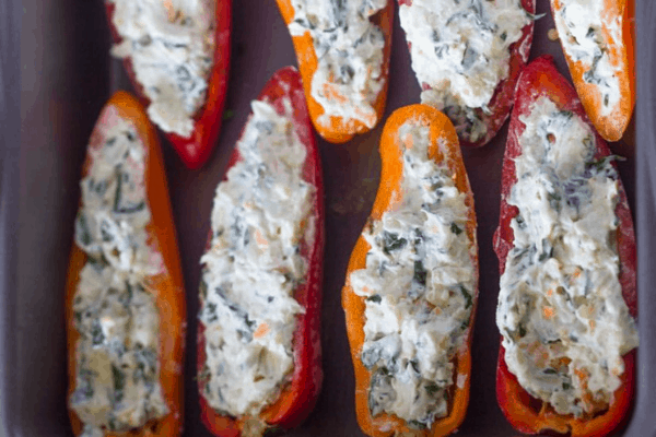 KETO APPETIZERS CHEESE STUFFED SWEET PEPPERS
